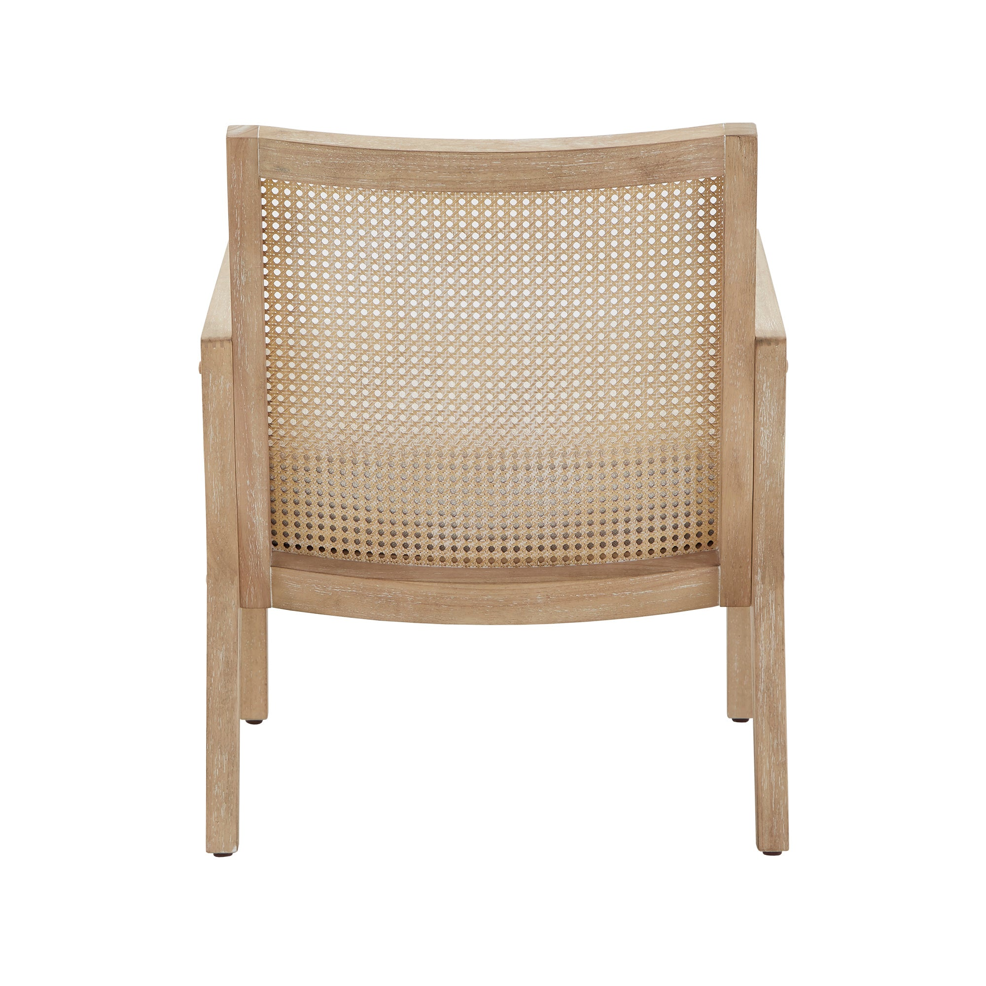 Natural Finish Fabric Cane Accent Chair