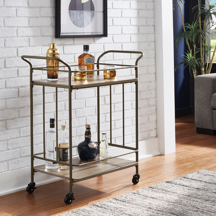 Bronze Finish and Wood Straight Lines Bar Cart