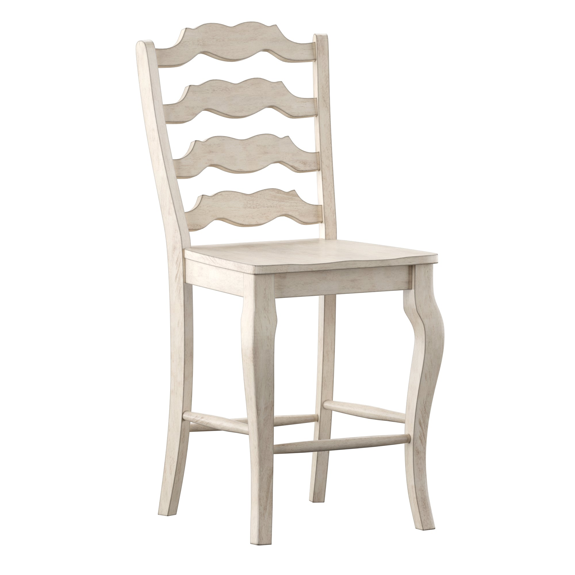 French Ladder Back Wood Counter Height Chair (Set of 2) - Antique White