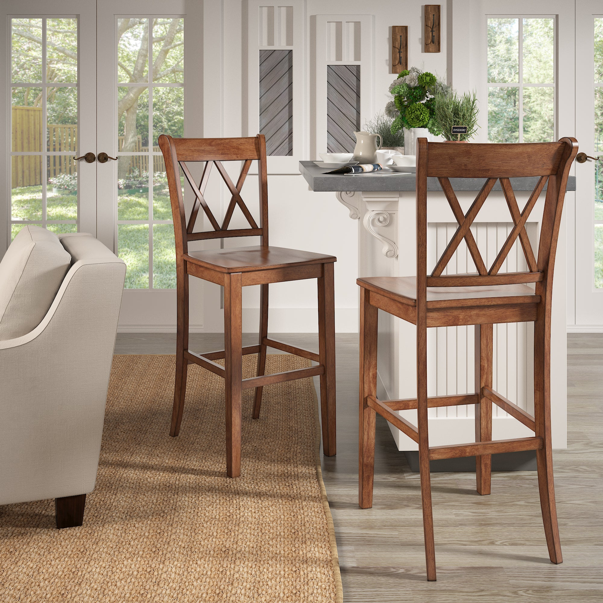 Oak Finish Double X Back Bar Height Chairs (Set of 2)
