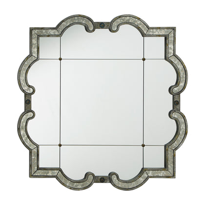 Antique Silver Paned Wall Mirror