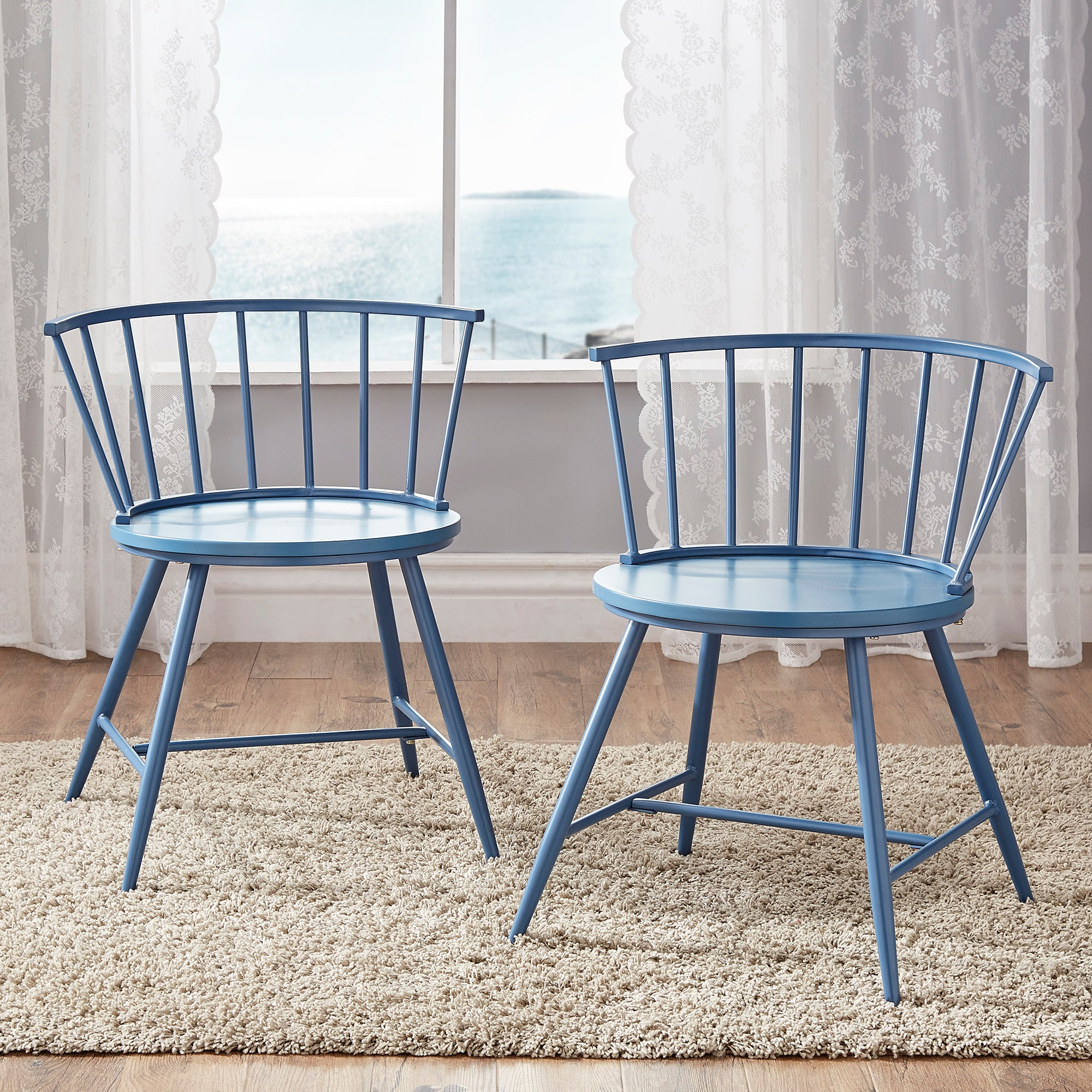 Low Back Windsor Classic Dining Chairs (Set of 2) - Blue Steel