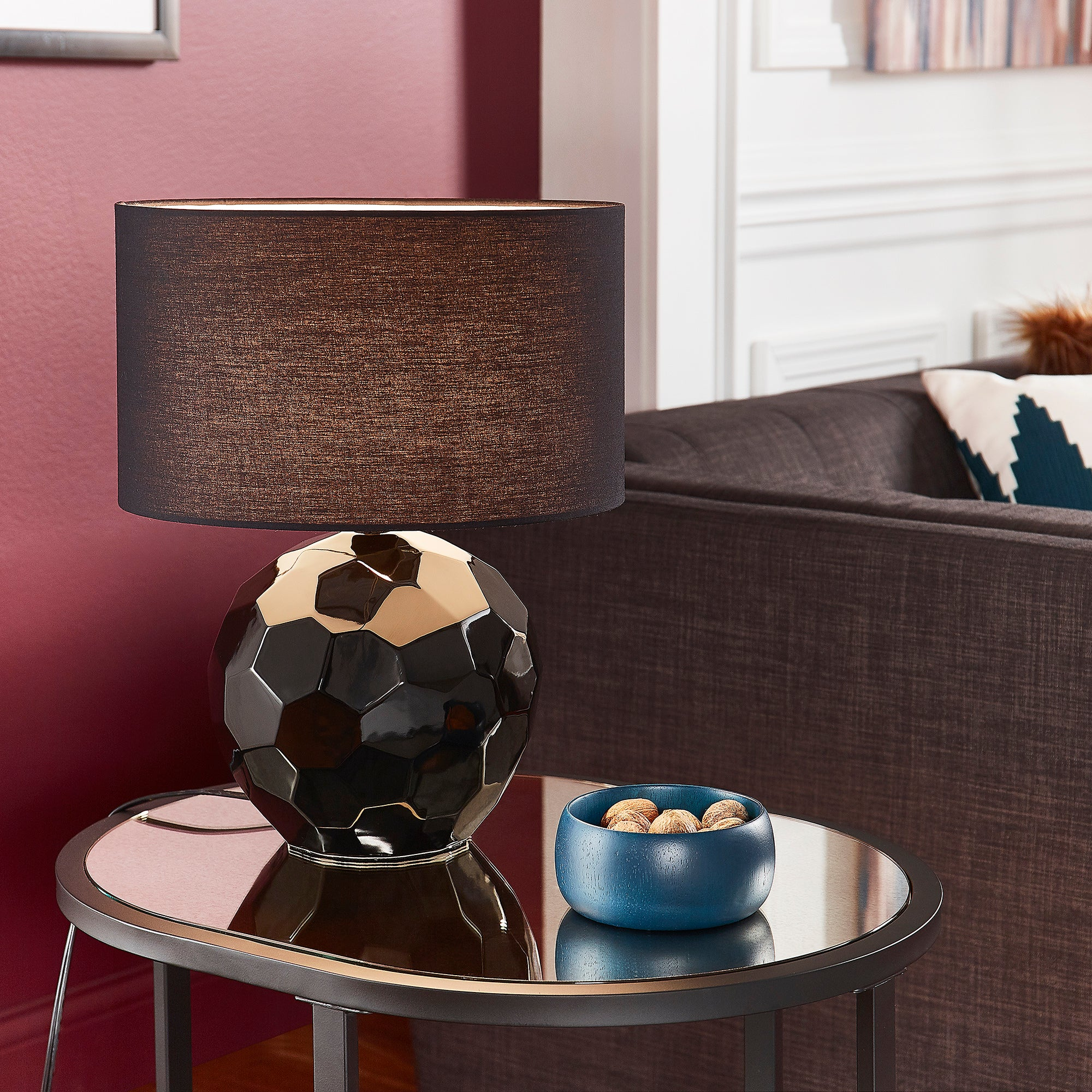Modern Drum Shade Table Lamp - Black