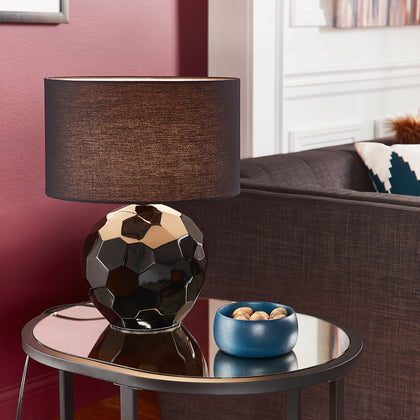 Black Modern Drum Shade Table Lamp