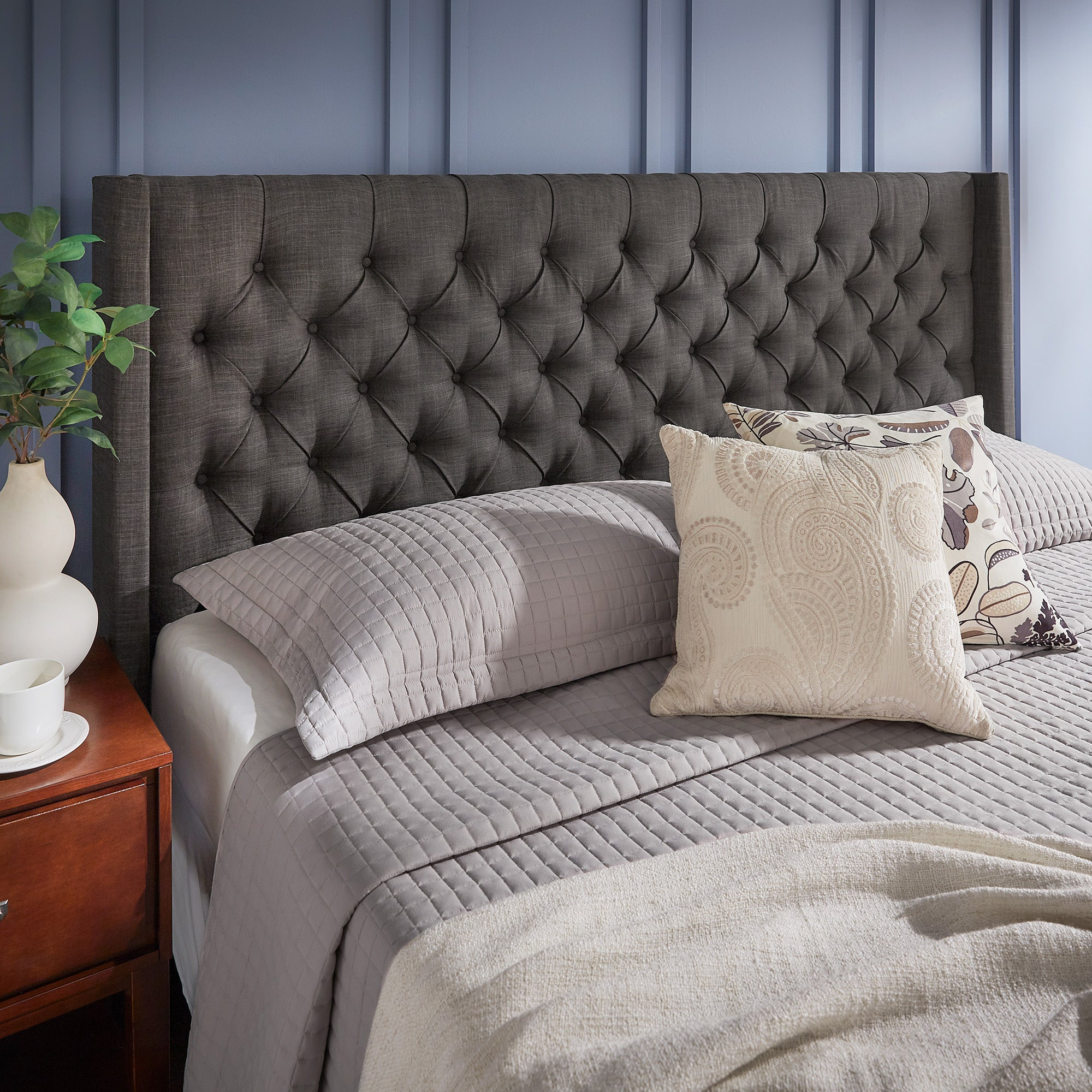 Wingback Button Tufted Linen Fabric Headboard - Dark Grey, King Size
