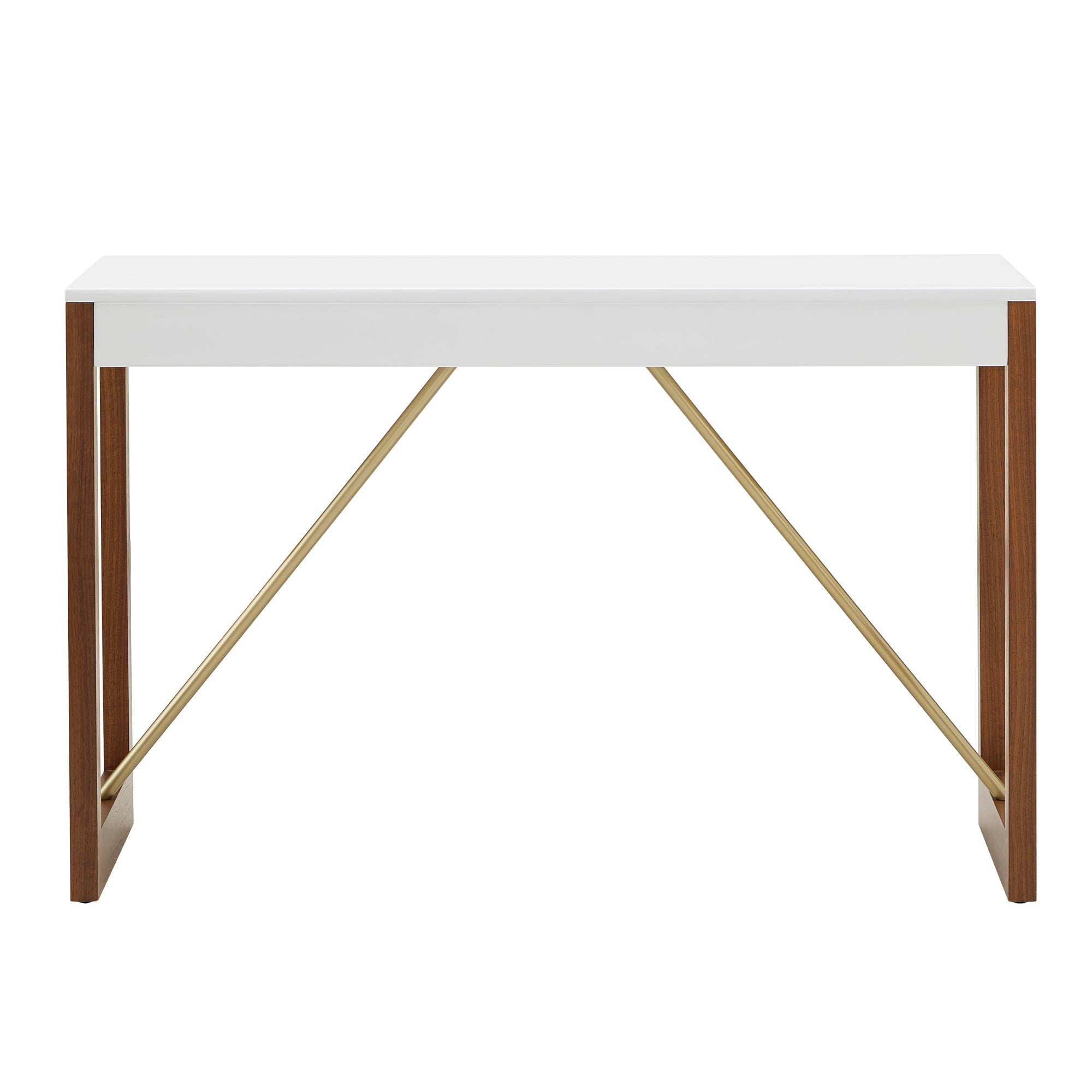 Two-Tone High Gloss White and Walnut Finish Table - Sofa Table