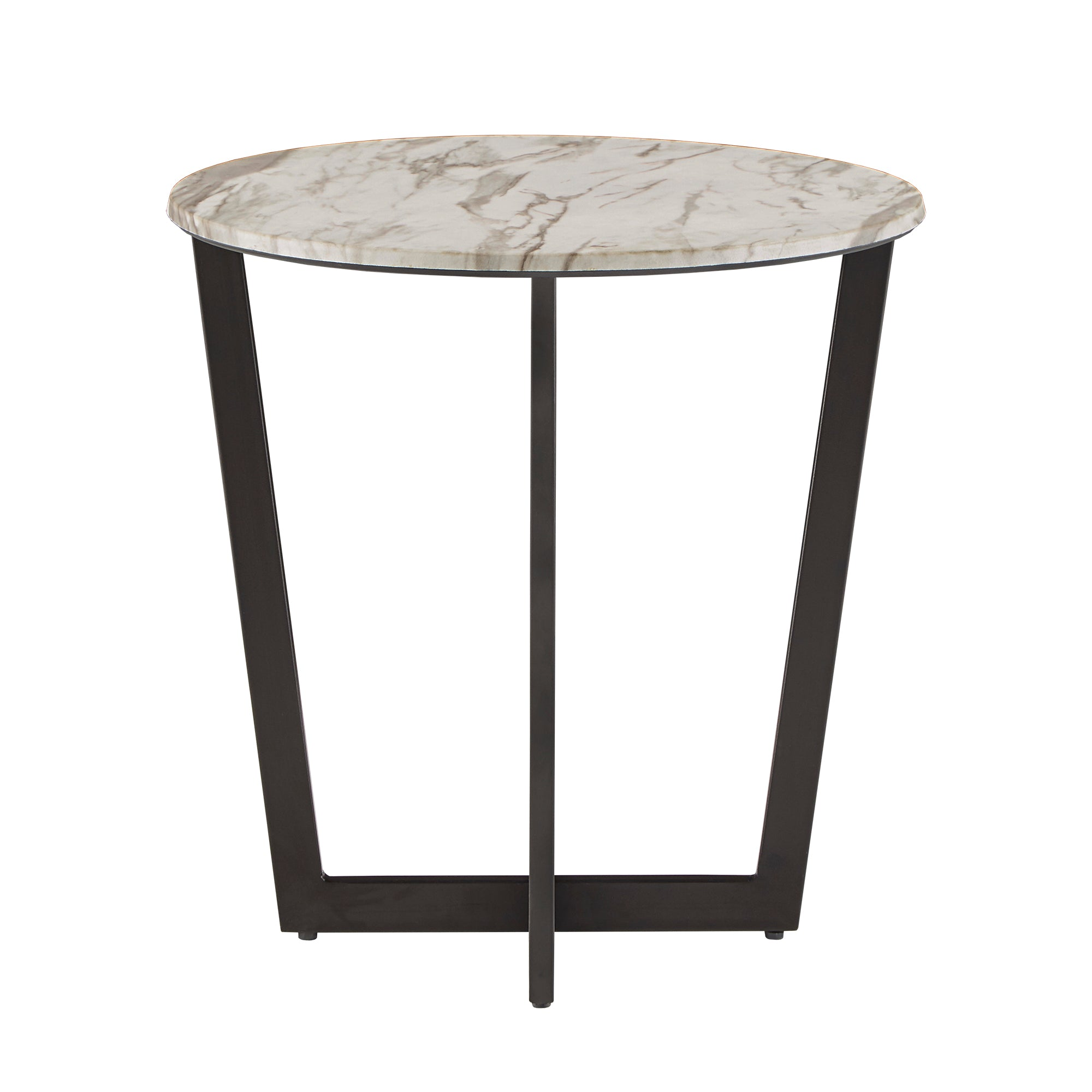 White Faux Marble and Metal End Table