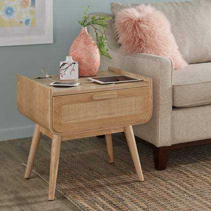 Natural Finish End Table With Wicker Drawer Front & Wireless Charger