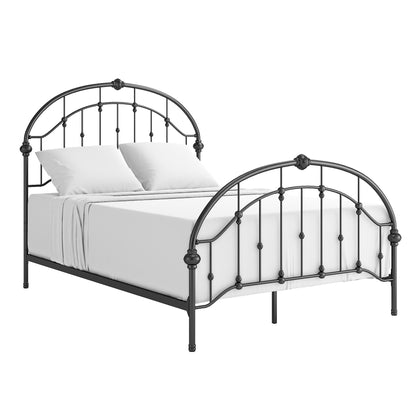 Curved Double Top Arches Victorian Iron Bed - Antique Dark Bronze, Queen Size