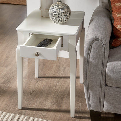 1-Drawer Storage Side Table - White