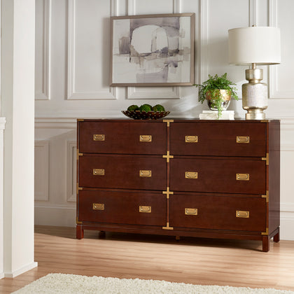 Gold Accent Campaign Dresser - 6-Drawer, Espresso