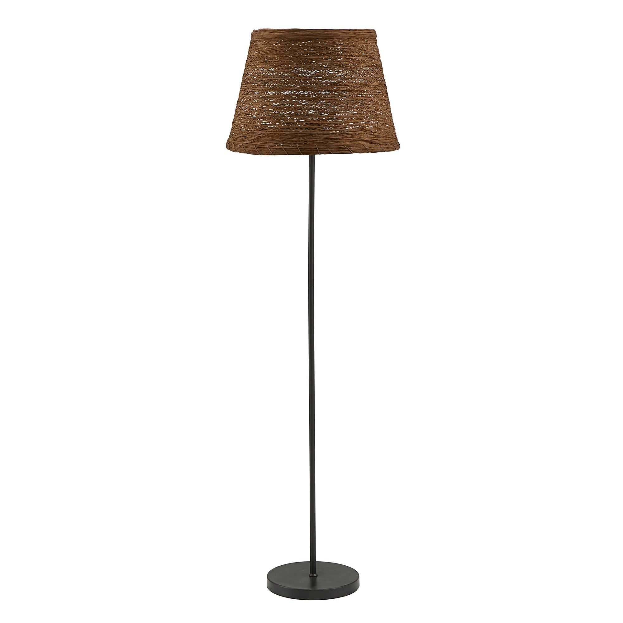 Matte Black Finish Brown Rattan Lampshade Floor Lamp