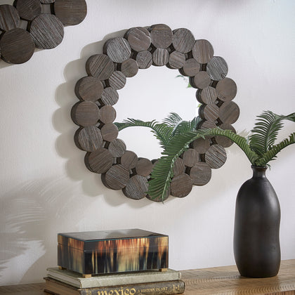 Dark Brown Reclaimed Wood Round Wall Mirror - Small