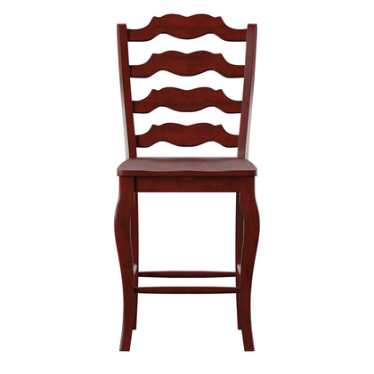 French Ladder Back Wood Counter Height Chair (Set of 2) - Antique Berry