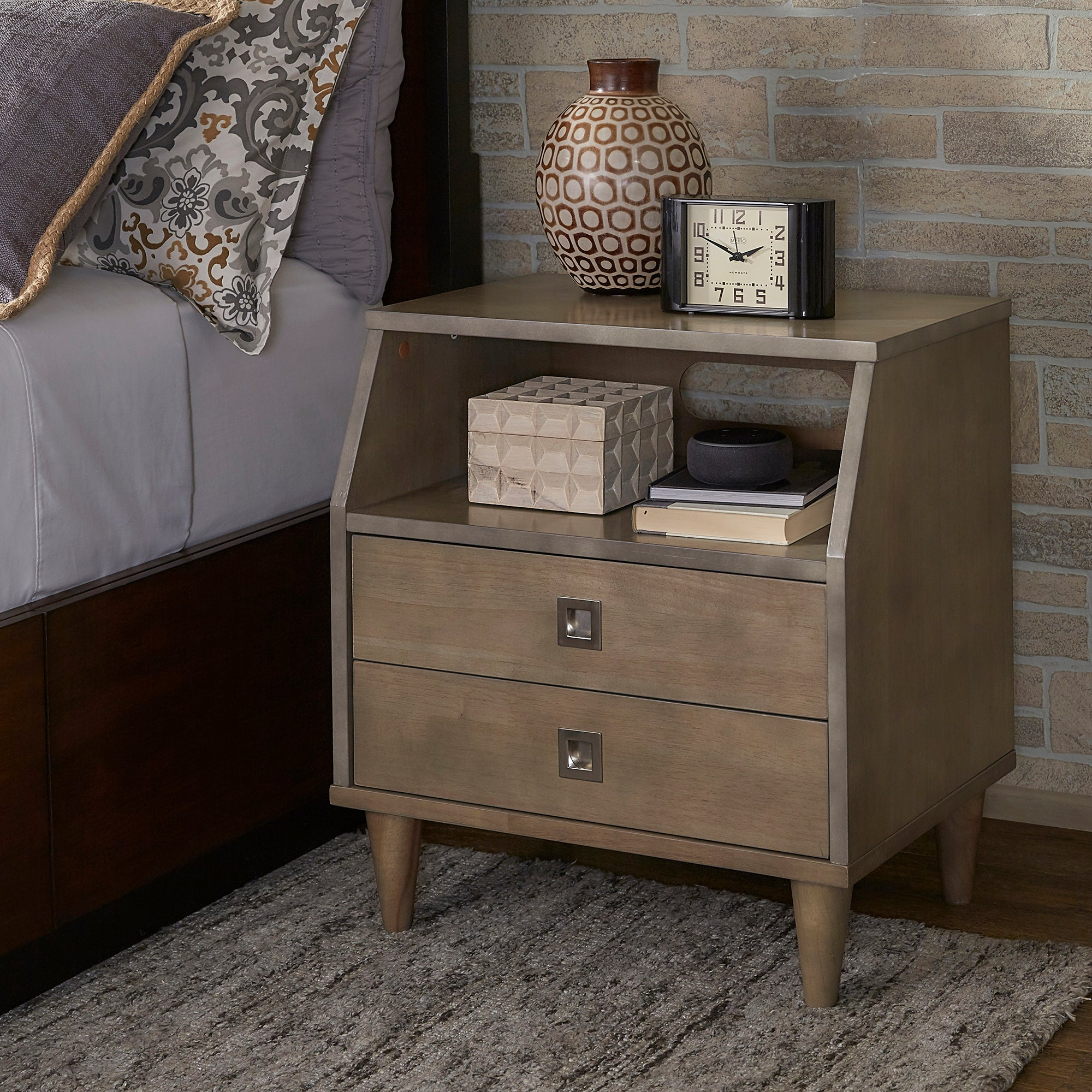 Light Charcoal Grey 2-Drawer Nightstand