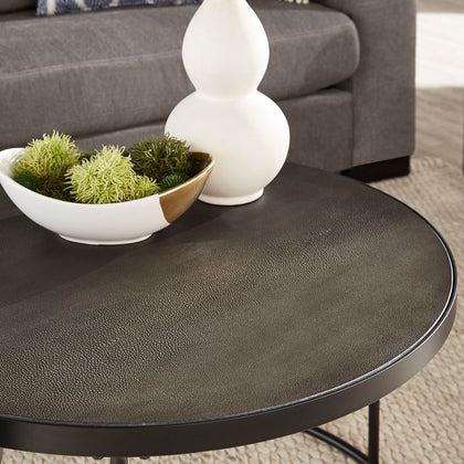 Black Finish Round Nesting Coffee Table with Faux Stingray Top