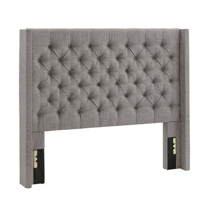 Wingback Button Tufted Linen Fabric Headboard - Grey, Full Size
