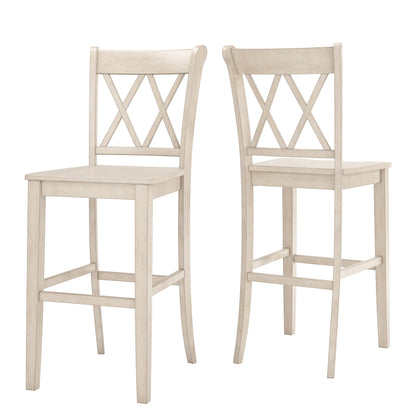 X Back Bar Height Chairs (Set of 2) - Antique White Finish