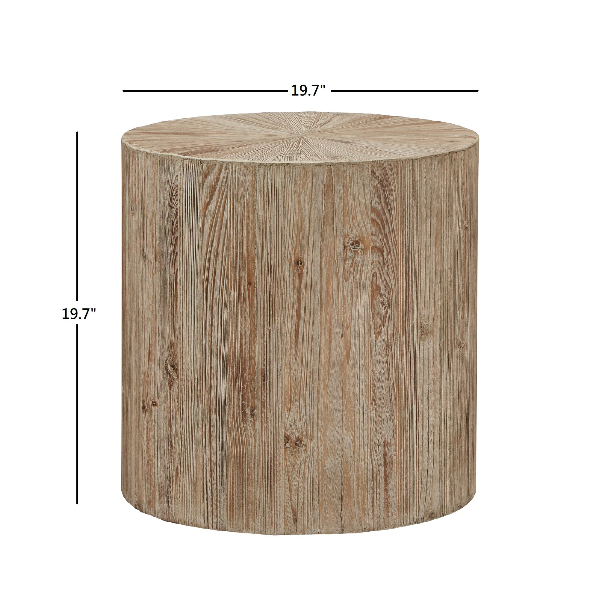 Distressed Reclaimed Wood Cylindrical End Table