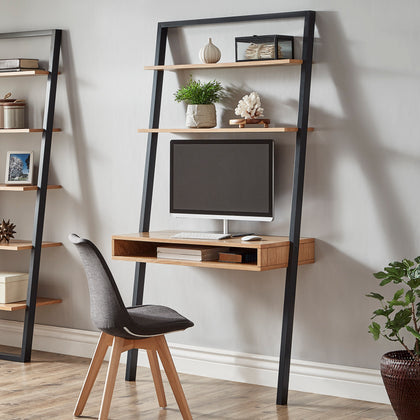 Two-Tone Leaning Ladder Desk - Black and Oak Finish