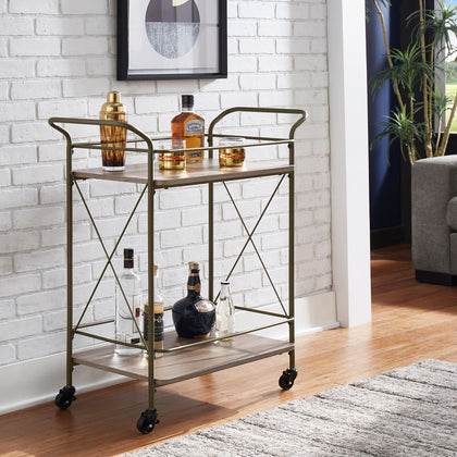 Bronze Finish Metal X-Frame Bar Cart with Walnut Wood Shelf