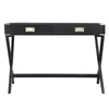 X-Base Wood Accent Campaign Writing Desk - Black