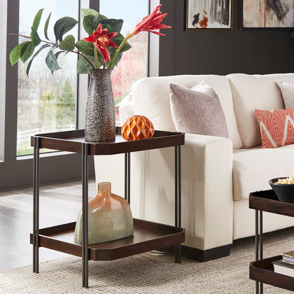 Dark Wood Finish Table with Clipped Corner Design and Metal Frame