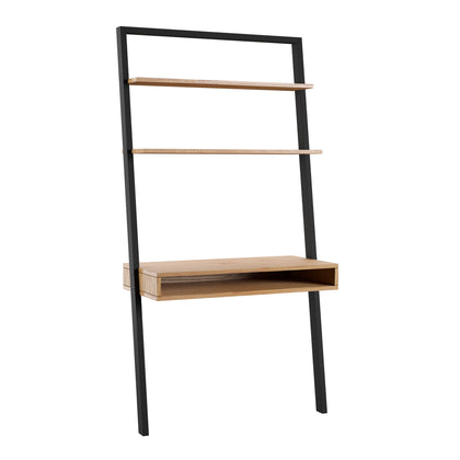 Black and Oak Leaning Ladder Desk