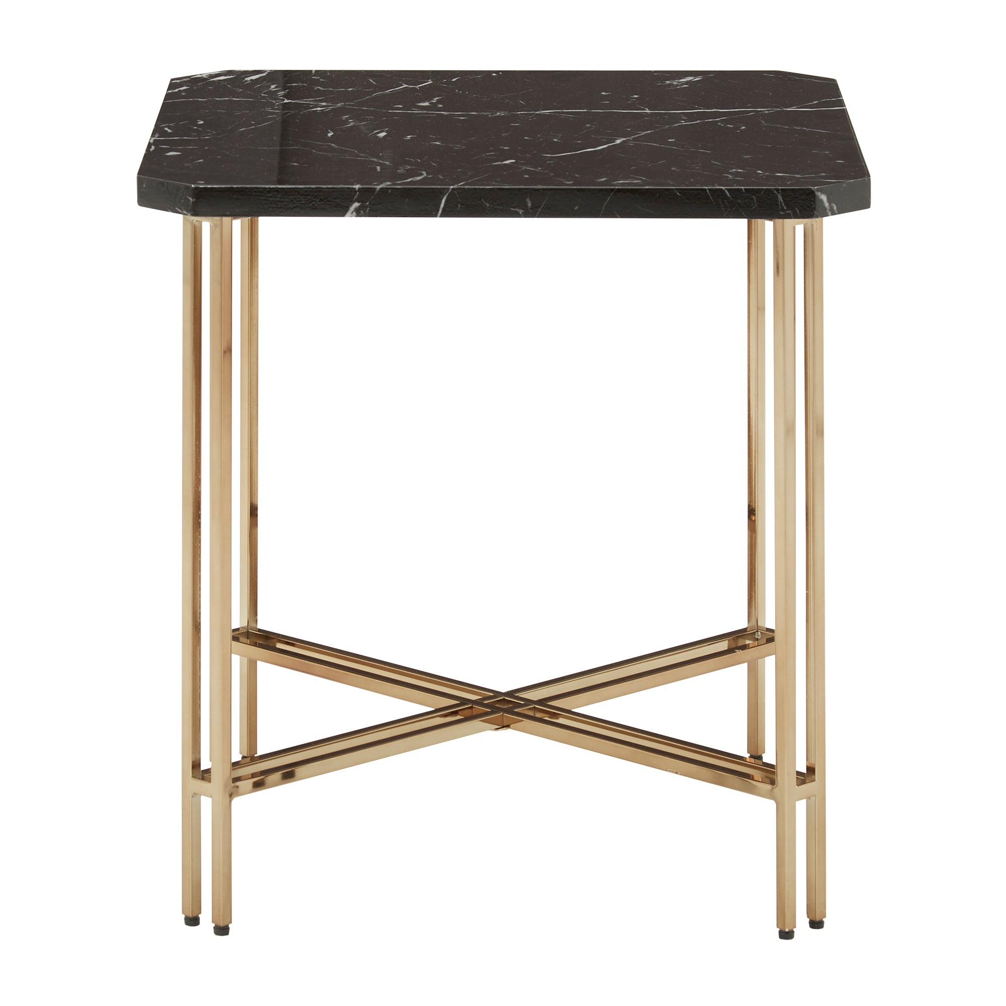 Gold Finish and Black Faux Marble End Table