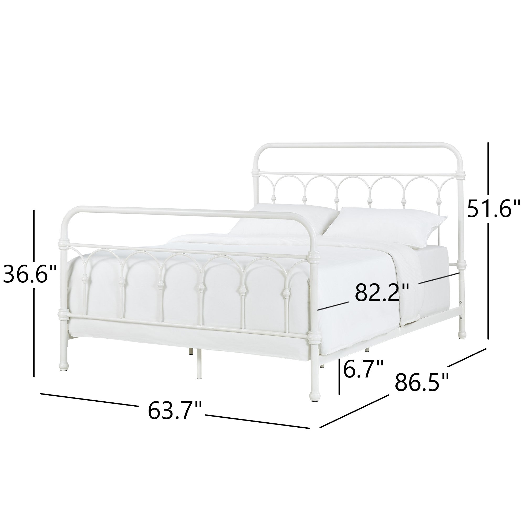 Casted Knot Metal Bed - Antique White - Queen (Queen Size)