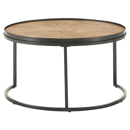 Grey Oak Finish Round Nesting Coffee Tables