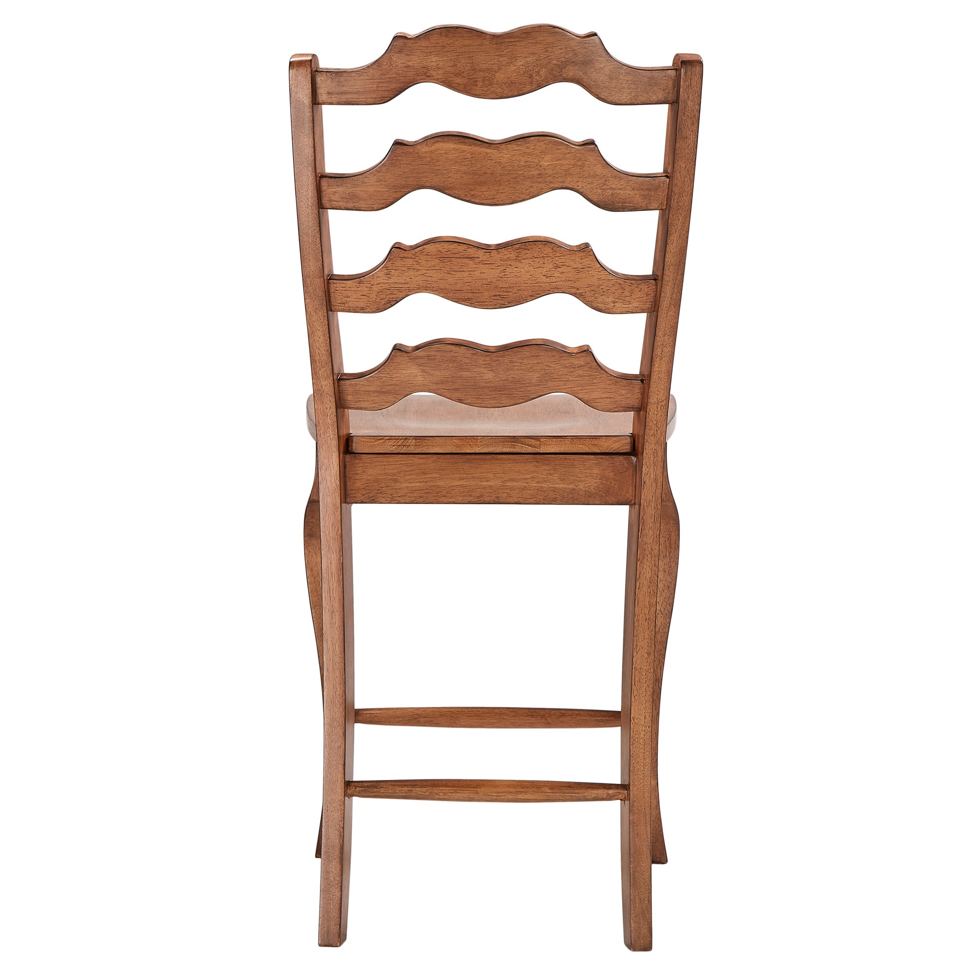 French Ladder Back Wood Counter Height Chair (Set of 2) - Oak Finish
