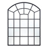 Metal Arched Windowpane Wall Mirror - Black Finish