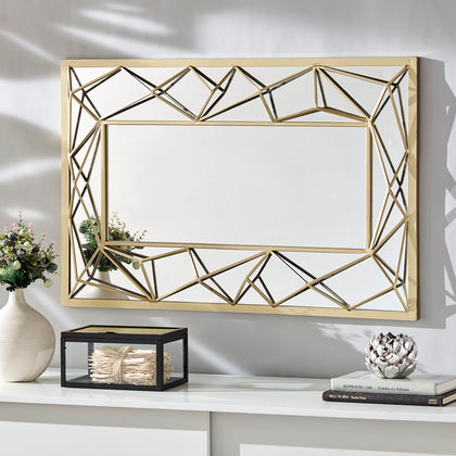 Metal Geometric Rectangular Wall Mirror - Gold Finish