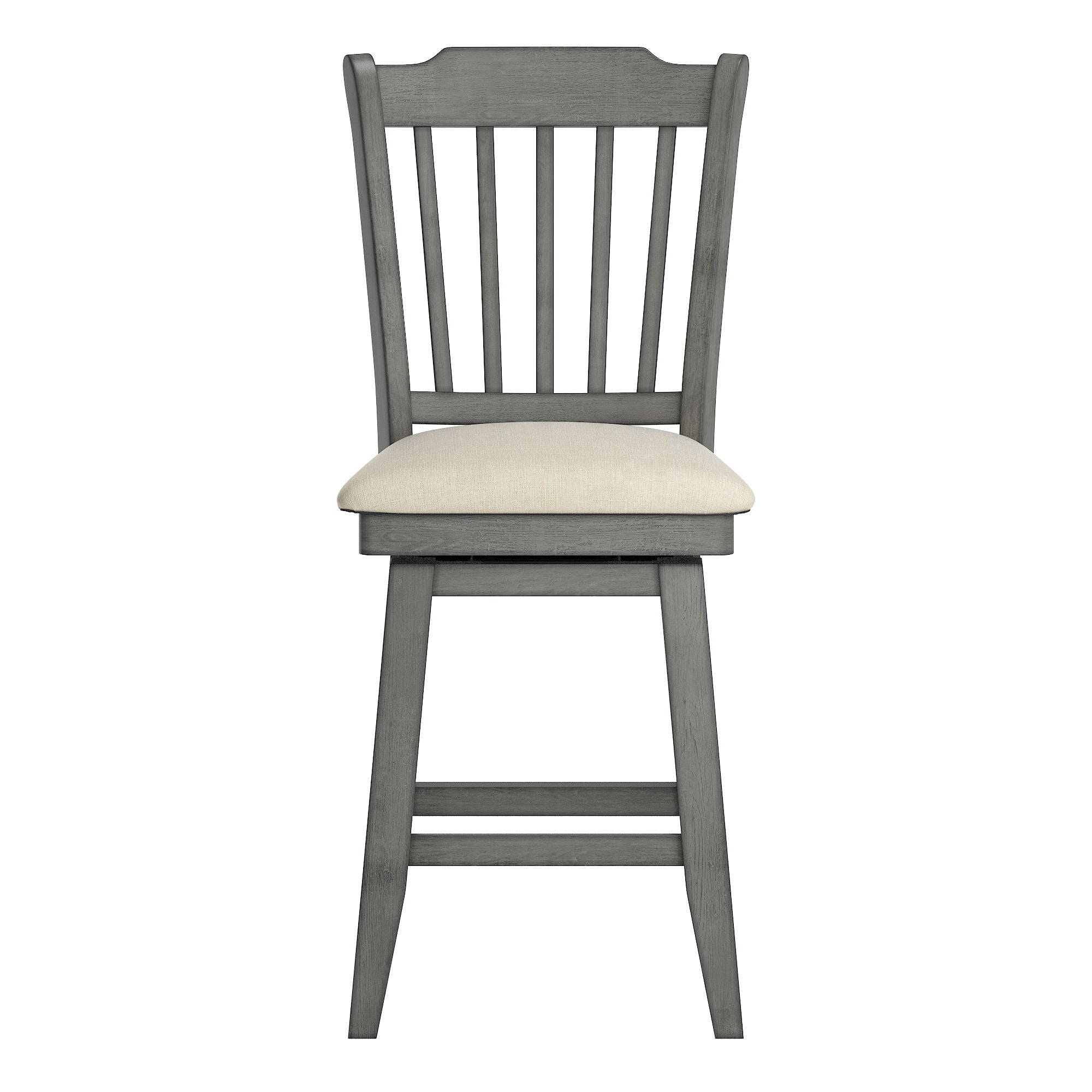 Slat Back Counter Height Wood Swivel Chair - Antique Grey