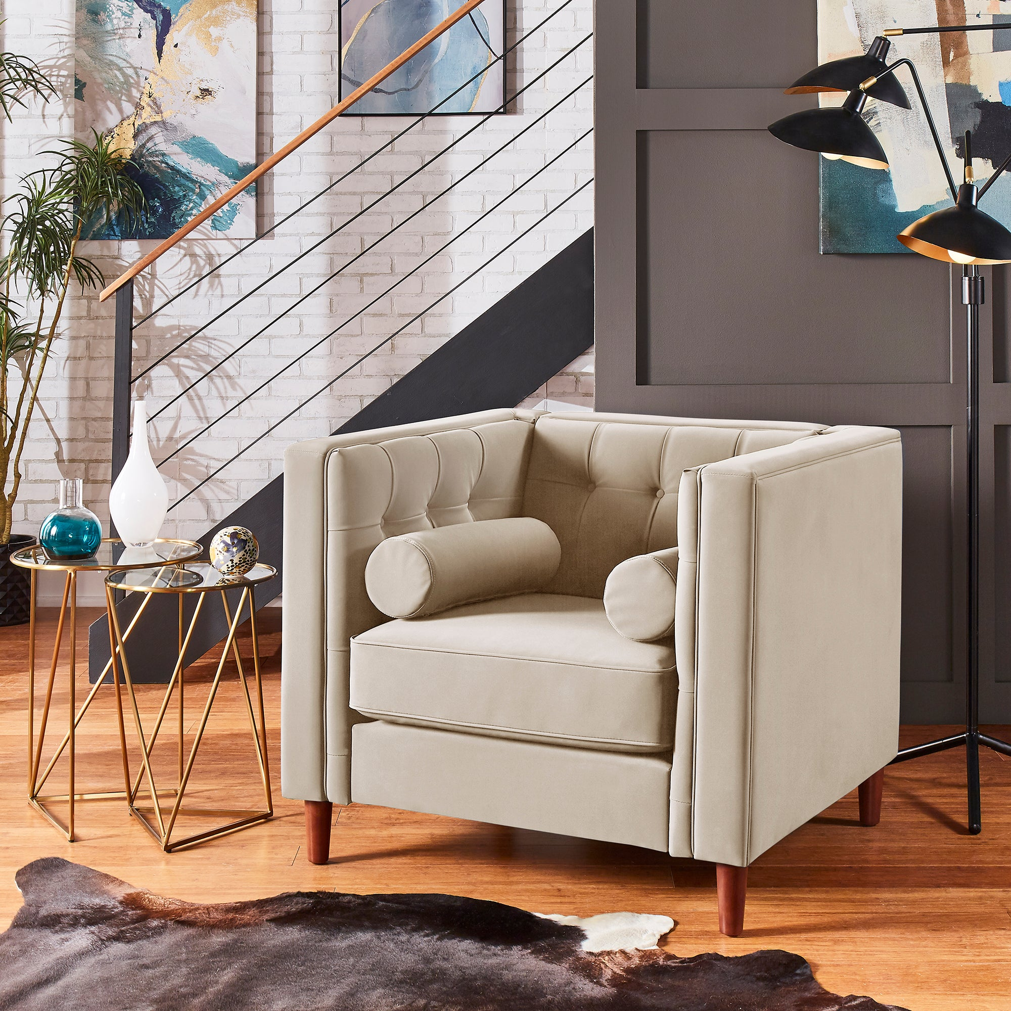 Tuxedo Faux Leather Arm Chair - Beige
