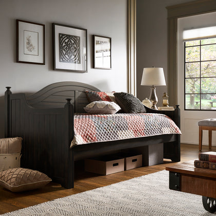 Traditional Paneled Wood Daybed - Antique Black, No Trundle
