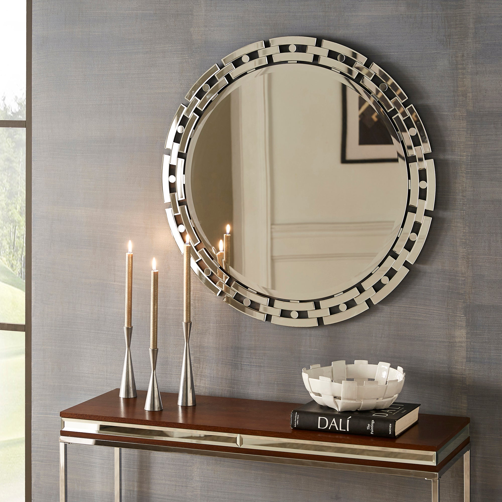 Geometric Frame Round Wall Mirror