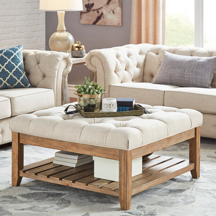 Pine Planked Storage Ottoman Coffee Table - Beige Linen Dimpled Tufts