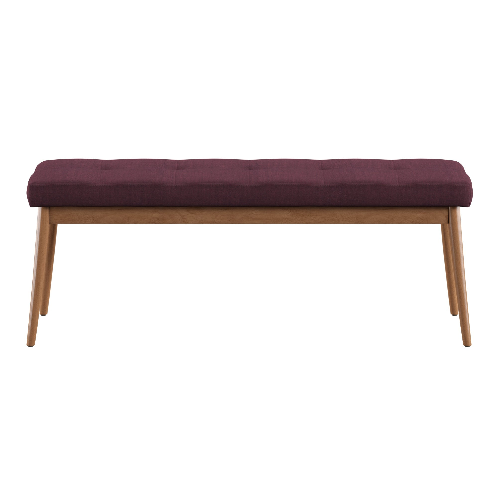 Oak Angled Leg Linen Dining Bench - Twilight Blue