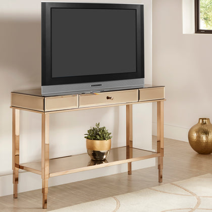 Mirror Finished 1-Drawer Sofa Table TV Stand  - Champagne Gold