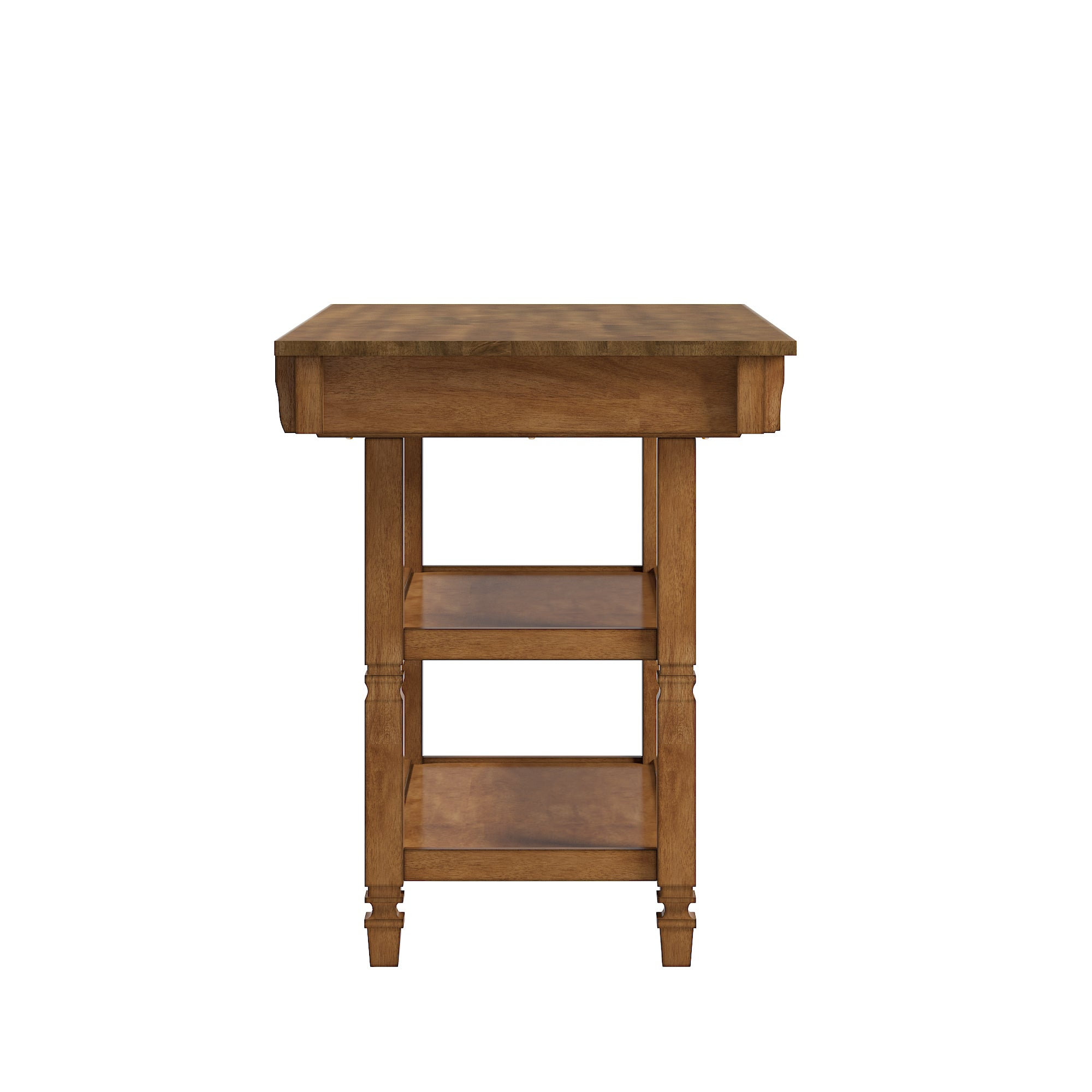 Two-Tone Antique Kitchen Island Buffet - Oak Top with Oak Base