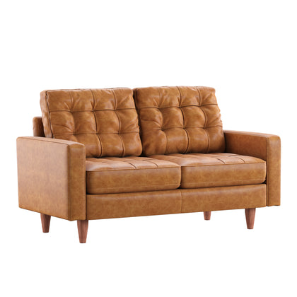 Caramel Leather Gel Loveseat