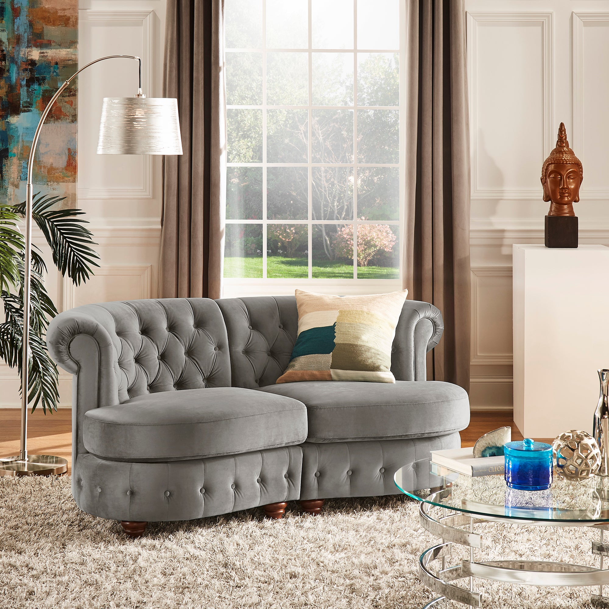 Velvet Tufted Scroll Arm Chesterfield Curved Loveseat - Grey