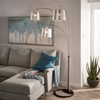 3-Light Tree Floor Lamp - Nickel Finish