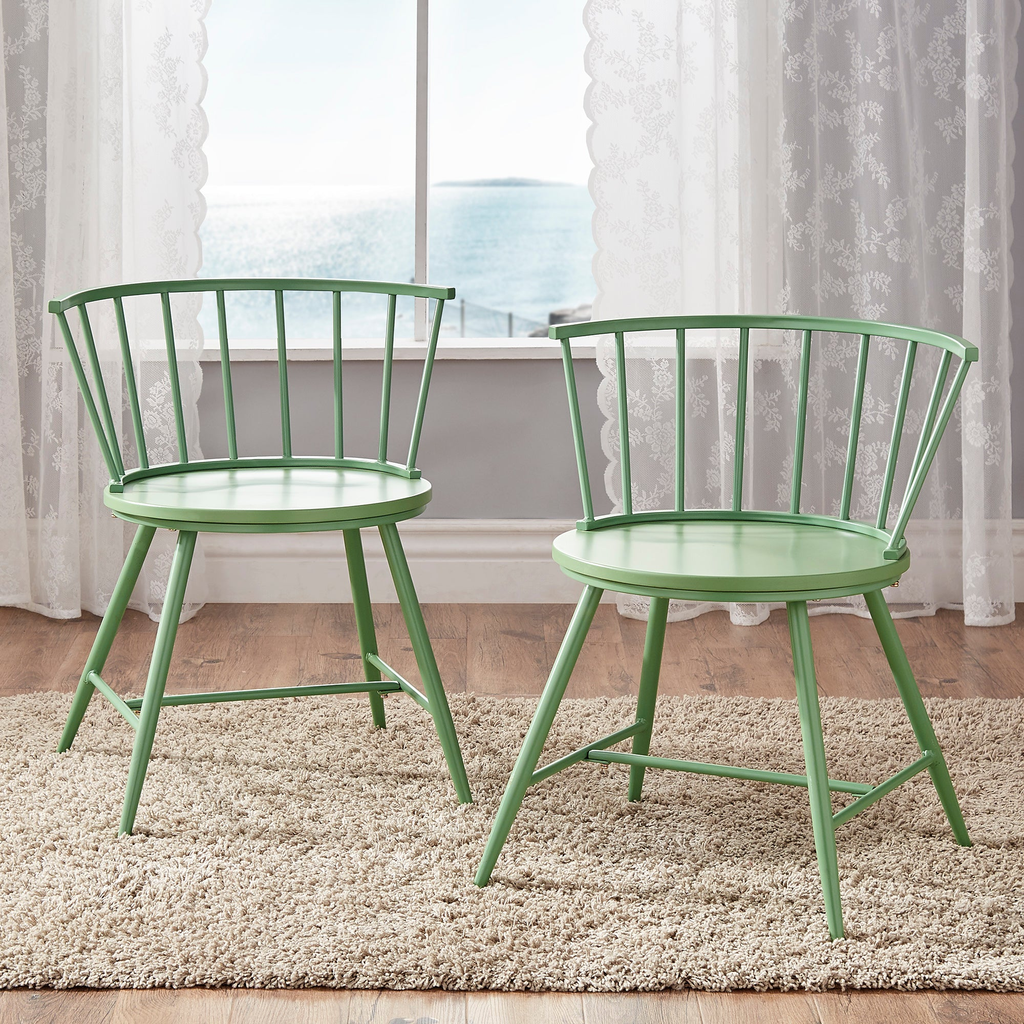 Low Back Windsor Classic Dining Chairs (Set of 2) - Meadow Green