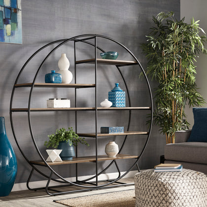 Matte Black Finish Metal Round Bookcase