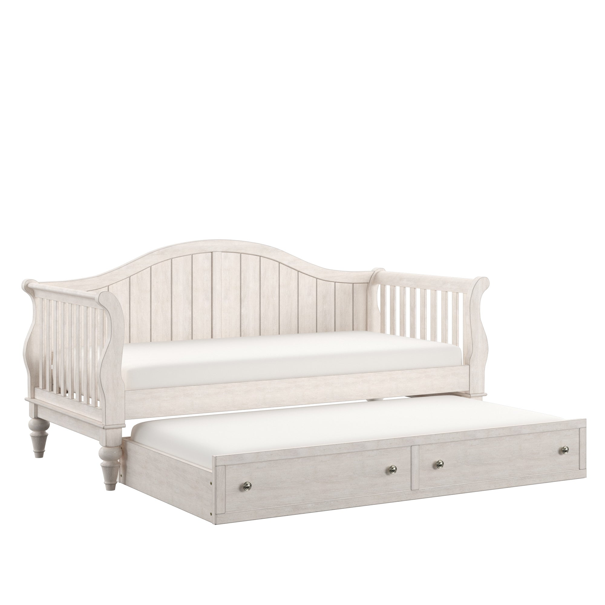 Traditional Wood Slat Daybed - Antique White, With Trundle