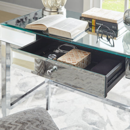 Beveled Mirrored Accent 1-Drawer Office Writing Desk - Chrome