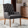 Light Distressed Natural Finish Linen Tufted Dining Chair - Dark Grey Linen
